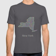 New York map Mens Fitted Tee Asphalt SMALL