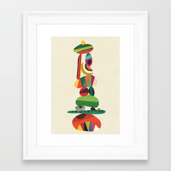 Totem - balanced pebbles Framed Art Print