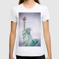Lady Liberty Womens Fitted Tee Ash Grey SMALL
