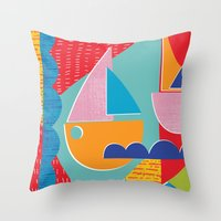 3 Sail Boats At Sea Throw Pillow