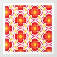 Retro Happy Bright Flora… Art Print