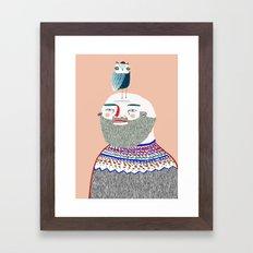 Man and Owl.  Framed Art Print