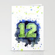 Stationery Cards featuring 12th Man Seahawks Seattl… by Olechka