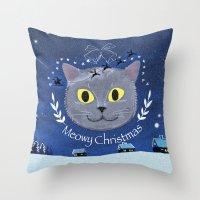 Meowy Christmas 2014 Throw Pillow