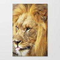Thirsty Lion Canvas Print