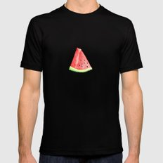 Watermelon Red Piece SMALL Black Mens Fitted Tee