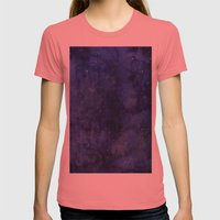Galaxy Watercolor Texture Night Sky Stars Womens Fitted Tee Pomegranate SMALL