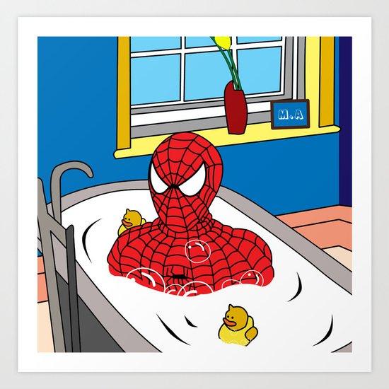 Spiderman art print by mark ashkenazi society6 for Spiderman bathroom ideas