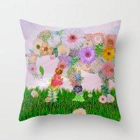 Elephant In My Garden Throw Pillow