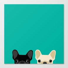 2 French Bulldogs Canvas Print
