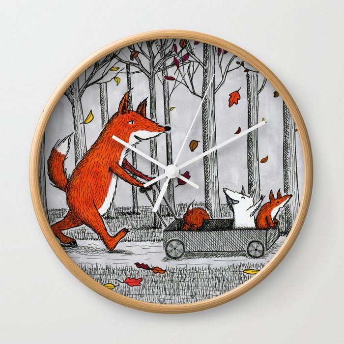 Fox Family Illustration Clock