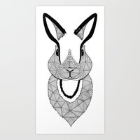 rabbit Art Prints featuring Rabbit by Art et Be