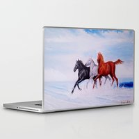 horses Laptop & iPad Skins featuring horses by shannon's art space