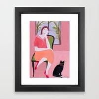 Lady In Pink Room Framed Art Print