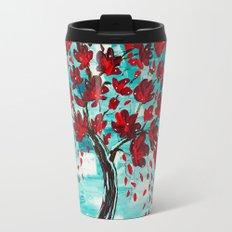 Turquoise Red Design Travel Mug