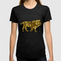 Animal Mosaic - The Lion Womens Fitted Tee Tri-Black SMALL