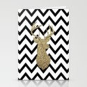 Glitter Deer Silhouette with Chevron Stationery Cards