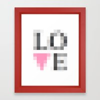 Exaggerated Pixelated LOVE Framed Art Print