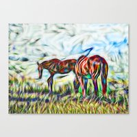 Abstract Horses In Paddo… Canvas Print