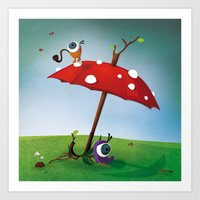 Les Zyeux - Umbrella Art Print