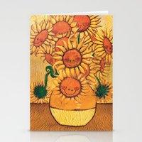 Flowers - Reinterpretation of Vase with 12 sunflowers by Vincent Van Gogh - Kids Art for sale Stationery Cards