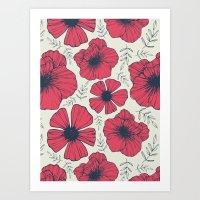 Raspberry Flowers Art Print