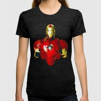 Polygon Heroes - Iron Ma… Womens Fitted Tee Tri-Black SMALL