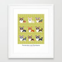 Pembrokes and Cardigans - CORGIS Framed Art Print