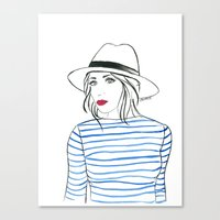 Stripes & Red Lips Canvas Print
