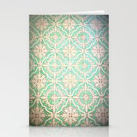 Turquoise Vintage Pattern Stationery Cards