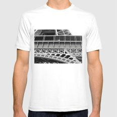 Eiffel Tower SMALL Mens Fitted Tee White