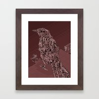 Red Bird Machine City Framed Art Print
