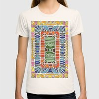 Geometric Drawing Meditation Womens Fitted Tee Natural SMALL