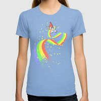 Not Laughing Now Womens Fitted Tee Tri-Blue SMALL