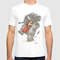 Elephant Hug Mens Fitted Tee White SMALL