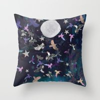Midnight Birds Throw Pillow