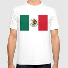 Flag of Mexico - alt version with seal insert Mens Fitted Tee White SMALL