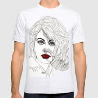 Sophia With Red Lips Mens Fitted Tee Ash Grey SMALL