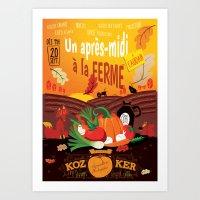 Un après-midi à la ferme : automne Art Print