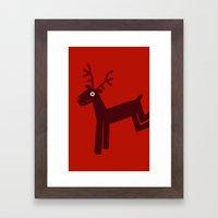 Reindeer-Red Framed Art Print