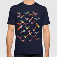 Birds doing bird things Mens Fitted Tee Navy SMALL
