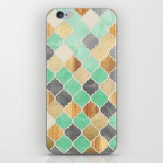 Charcoal, Mint, Wood & Gold Moroccan Pattern iPhone & iPod Skin