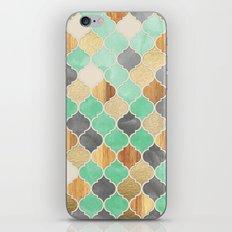 Charcoal, Mint, Wood & G… iPhone & iPod Skin
