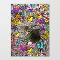Emma in Butterflies - Gray Tabby Kitty Canvas Print