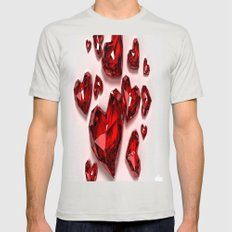 VALENTINE LOVE Mens Fitted Tee Silver SMALL