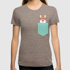 Teagan Glasses Corgi Cut… Womens Fitted Tee Tri-Coffee SMALL