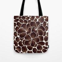 Hibiscus Animal Print Brown Tote Bag