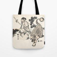 Old Man & Ankylosaurus Tote Bag