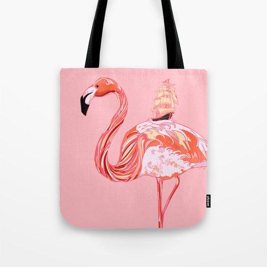 Flamingo & Sea Tote Bag