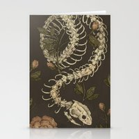 skeleton Stationery Cards featuring Snake Skeleton by Jessica Roux